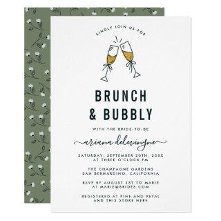 Champagne Flutes Brunch and Bubbly Bridal Shower Invitation