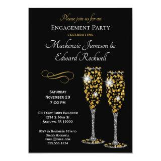 Champagne Glam Black Engagement Party Invitations