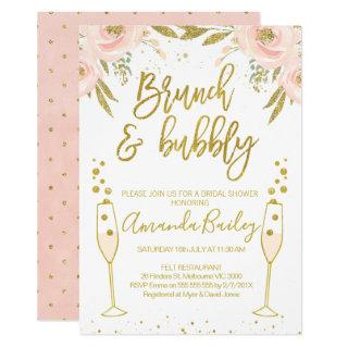 Champagne Glass Brunch Bridal Shower Invitations