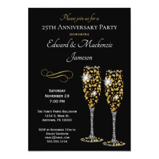 Champagne Glasses Black Anniversary Invitations
