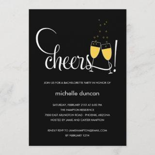 Champagne Glasses Engagement or Bachelorette Party Invitation