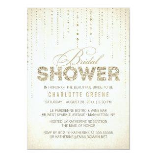 Champagne Gold Glitter Look Bridal Shower Invitation