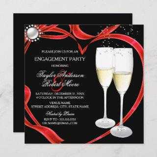 Champagne & Heart Engagement Black Silver red Invitation