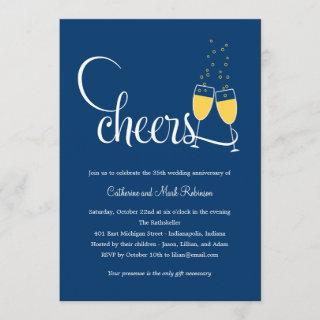 Champagne Toast Wedding Anniversary Invitation