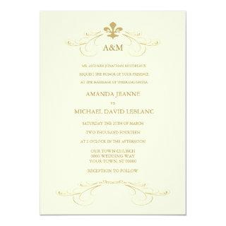 Champagne White and Gold Fleur de Lis Wedding Invitations