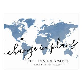 Change in Plans Postponed Destination Wedding Blue Postcard