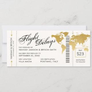 Change in Plans World Map Boarding Ticket Wedding Announcement