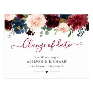 Change of Date Burgundy Blush Navy Floral New Plan Postcard