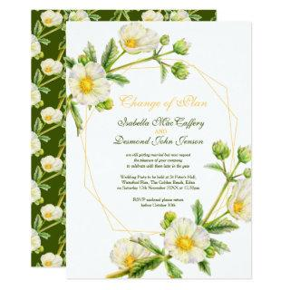 Change of plan Rose watercolor white green wedding Invitations