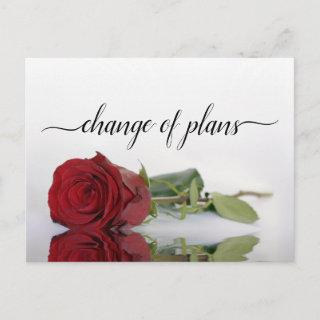 Change of Plans Red Rose Wedding Postponed Announcement Postcard