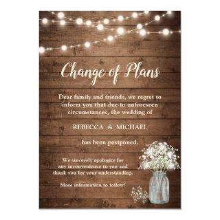 Change of Plans Rustic Baby's Breath String Lights Invitations