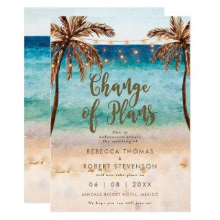 change of plans tropical beach wedding Invitations
