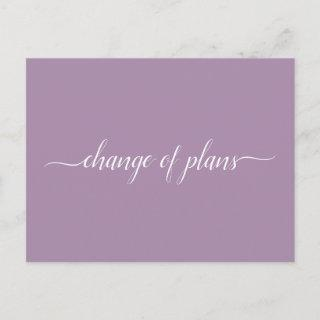 Change of Plans Wedding Cancelled Postponed Purple Announcement Postcard