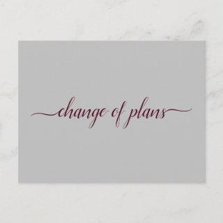 Change of Plans Wedding Postponed Burgundy & Gray Announcement Postcard