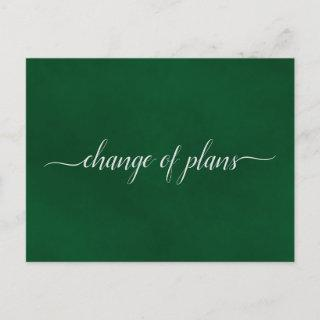 Change of Plans Wedding Postponed Emerald Green Announcement Postcard