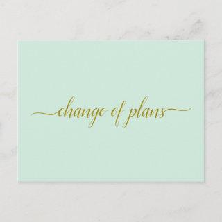 Change of Plans Wedding Postponed Gold Mint Green Announcement Postcard