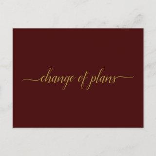 Change of Plans Wedding Postponed Gold on Burgundy Announcement Postcard