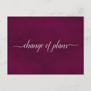 Change of Plans Wedding Postponed Maroon or Cassis Announcement Postcard