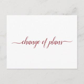 Change of Plans Wedding Postponed Red on White Announcement Postcard