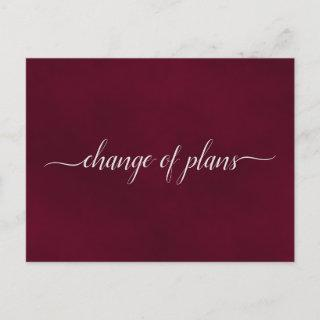 Change of Plans Wedding Postponed Simple Burgundy Announcement Postcard