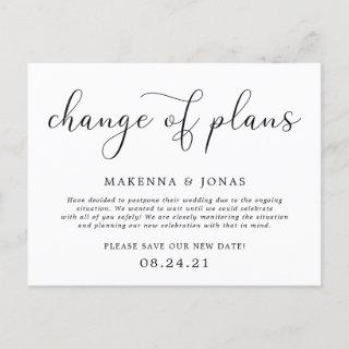Change of Plans Wedding Postponement Announcement Postcard