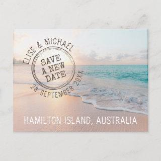 Change the Date Beach Wedding Passport Stamp Announcement Postcard