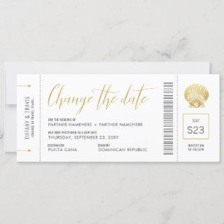 Change the Date Boarding Pass Gold Seashell Save The Date