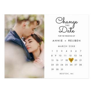 Change the Date Calendar Gold Love Heart Photo Postcard