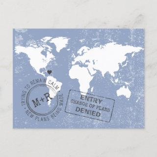 Change the Date Funny Modern Destination Wedding Announcement Postcard
