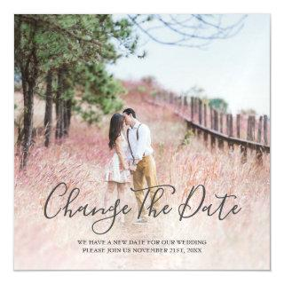 Change The Date Modern Calligraphy Photo Magnetic Invitation