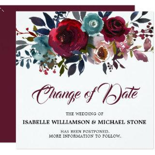 Change the Date Red Burgundy Floral Wedding Invitations