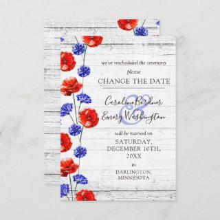 Change The Date Rustic Poppy Floral Wedding Card