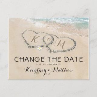 Change The Date Tropical Beach Heart Shore Announcement Postcard