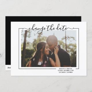 Change The Date Typography Photo Wedding Card