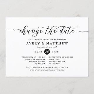 Change The Date Wedding Ceremony and Reception Invitations