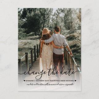 Change the Date Wedding Typography Photo Announcement Postcard