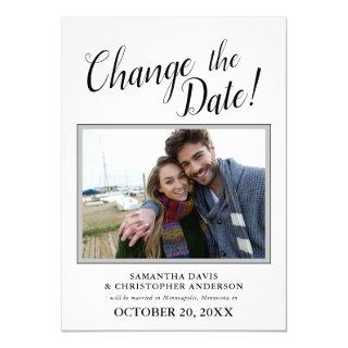 Changed The Date Photo Calligraphy Wedding Invitations