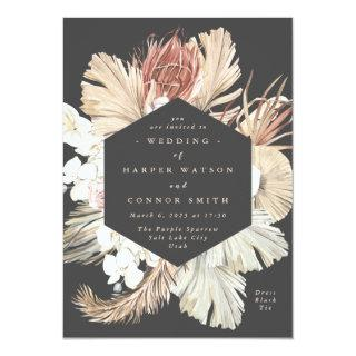Charcoal Floral Pampas Dried Grass Tropical Jungle Invitations