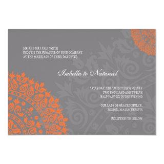 Charcoal Gray and Orange Damask Wedding Invitation