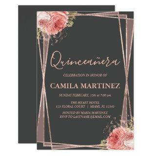 Charcoal Grey and Rose Gold Quinceanera Party Invitation