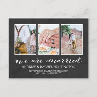 Charcoal Wedding Announcement Photo Collage