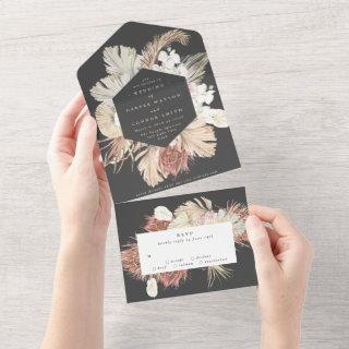 Charcoal Wreath Pampas Grass Floral Cream Wedding All In One Invitation