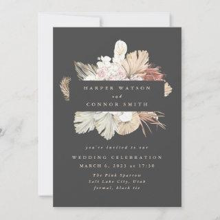 Charcoal Wreath Pampas Grass Floral Cream Wedding Invitations