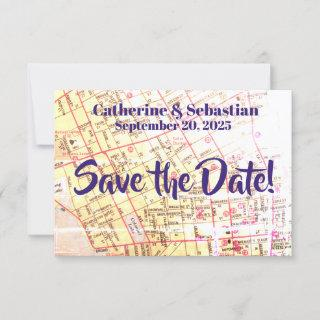 Charleston, SC Vintage Map Save The Date