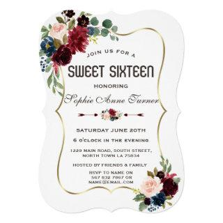 Charm Gold Merlot Navy Blue Floral Sweet 16 Invitation