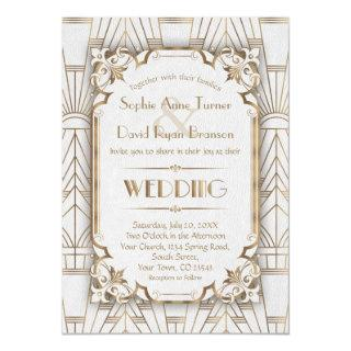 Charm Gold White Art Deco Great Gatsby Wedding Invitation