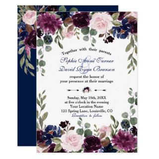 Charm Lavender Navy Blue Floral Bloom Wedding Invitations
