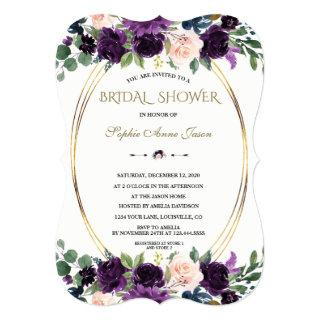 Charm Lavender Navy Blue Flowers Bridal Shower Invitations