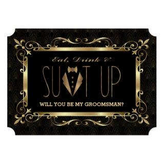 Charm Roaring 20s Gold Art Deco Be my Groomsman Invitation