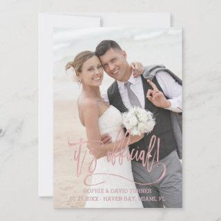 Charm Rose Gold Calligraphy It's official Wedding Announcement